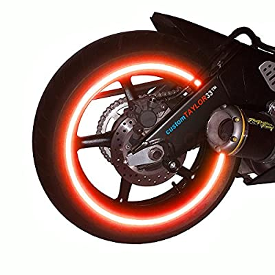 """customTAYLOR33 (All Vehicles) Red High Intensity Grade Reflective Copyrighted Safety Rim Tapes (Must select your rim size), 17"""" (Rim Size for Most SportsBikes) from customTAYLOR33"""
