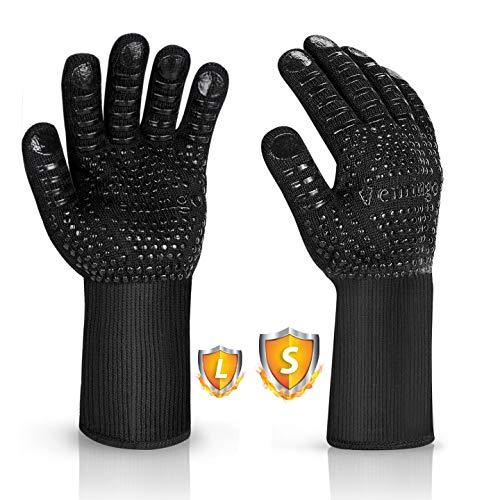 Vemingo Grillhandschuhe Ofenhandschuhe Feuerfeste Handschuhe | Hitzebeständige bis zu 800 ° C | Kochhandschuhe Backhandschuhe für BBQ Kochen Backen | für Frauenhände Schweißen-Klassisch Schwarz