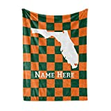 State Pride Series Floria - Personalized Custom Fleece Throw Blankets with Your Family Name - Miami Edition