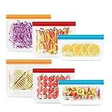 UOON Bolsas Reutilizables para Almacenamiento de Alimentos, 6Pcs Bolsas Congelar de 3 Tamaños para Bocadillos, Sándwich, Verduras, Frutas, A Prueba de Fugas, Sin BPA, Azul/Naranja/Rojo