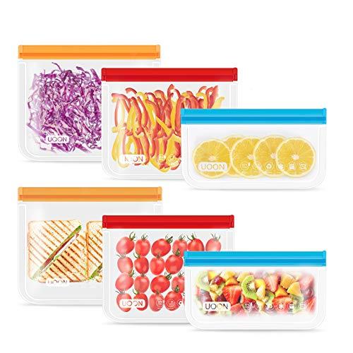 UOON Lebensmittel Beutel,6 Pack Wiederverwendbare Sandwich Snack Taschen, Mehrzweck PEVA Küche Aufbewahrungsbeutel mit Zip,Gefrierbeutel Kühltaschen BPA-Frei für Hause Obst,Gemüse,Brot, Fleisch