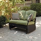 Better Homes and Gardens Providence Outdoor Glider Bench, Powder Coated Steel Frame, Includes Two Cushions and Two Decorative Pillows that are UV Protected, 7mm Flat Cashmere, Seats 2 (Green)