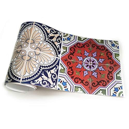 JMSHTU Azulejo pegatinas cocina baño frontera autoadhesivo color vintage DIY pared Peel Stick decoración extraíble impermeable piso pegatina