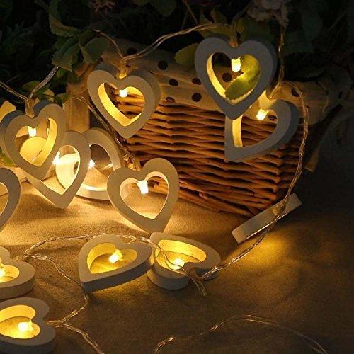 Treasure-house Guirlande lumineuse 10 LEDs Bois Cœur Intérieur ou extérieur étanche lampe pour jardin fête de Noël Décoration lumières
