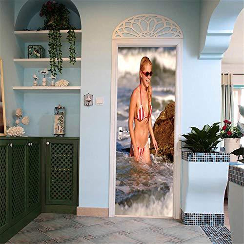 Bdhnmx 3D-stickers, zelfklevend, voor badpak, dames, PVC, waterdicht, decoratie van het huis, knutselen, behang, 30,3 x 78,7 cm (77 x 200 cm)