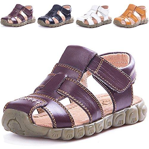 LONSOEN Leather Outdoor Sport Sandals,Fisherman Sandals for Boys(Toddler/Little Kids),Brown,KSD001 CN25