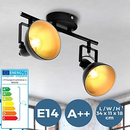 Deckenstrahler - EEK A++ bis E, LED, E14, 40W, IP20, 2 flammig, drehbar, schwenkbar, Metall, Schwarz - Deckenlampe, Deckenleuchte, Deckenspot für Wohnzimmer, Schlafzimmer