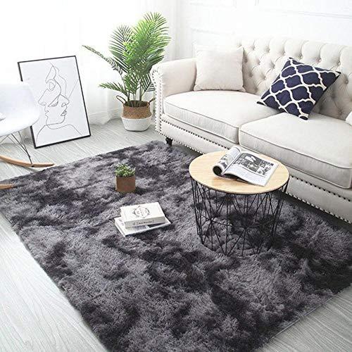 Grijze tapijt tie verven pluche zachte tapijten voor de woonkamer slaapkamer antislip vloermatten slaapkamer wateropname tapijt tapijten, diep grijs, 80x200cm
