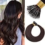 18 inch #02 Dark Brown Hair Extensions Pre Bonded Hair Extension Real Remy