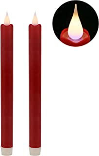 GiveU 9inches Moving Wick Flame Led Taper Battery Operated Flameless Candle With Timer For Home,Wedding, Christmas Decoration,Pack of 2, 9