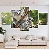 WMWSH Modern Wandbilder Koala 5 Leinwandbilder Modulare Hd