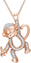 Jewel Zone US Natural Diamond Accent Hanging Monkey Pendant Necklace in 14K Gold Over Sterling Silver