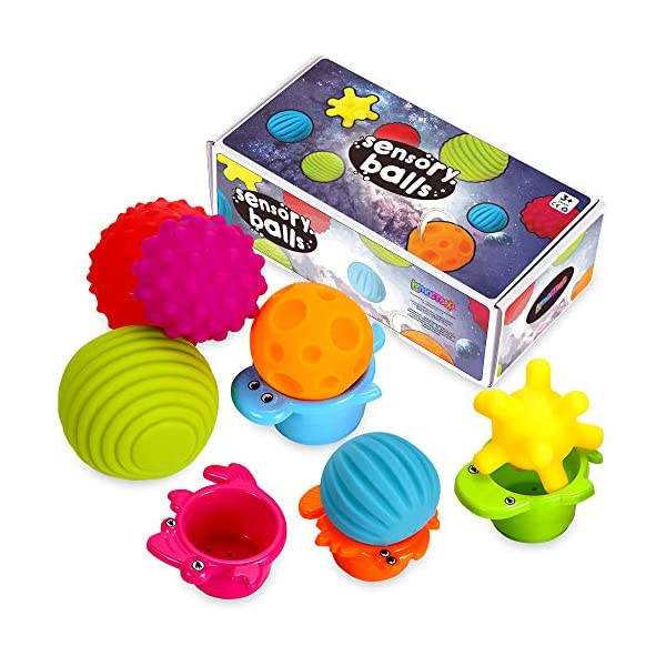 Sensory Balls for Kids – Textured Multi Ball Set for Babies & Toddlers, 6 Colorful Soft and Squeezy Sensory Toys with Stacking Cups – Stress Relief Toy for Kids & Sensory Balls for Toddlers