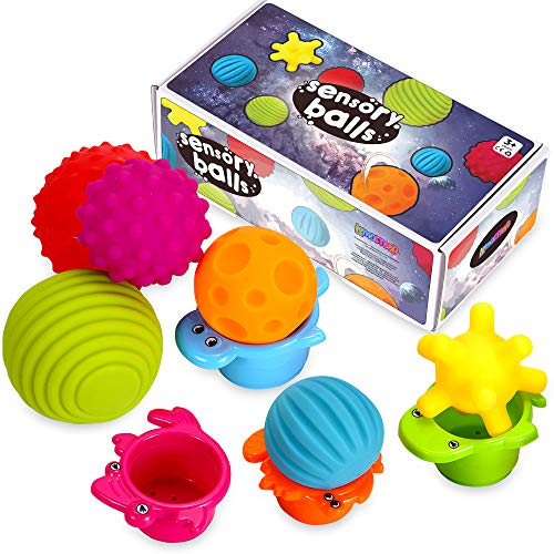 Sensory Balls for Kids - Textured Multi Ball Set for Babies & Toddlers, 6 Colorful Soft and Squeezy Sensory Toys with Stacking Cups - Stress Relief...
