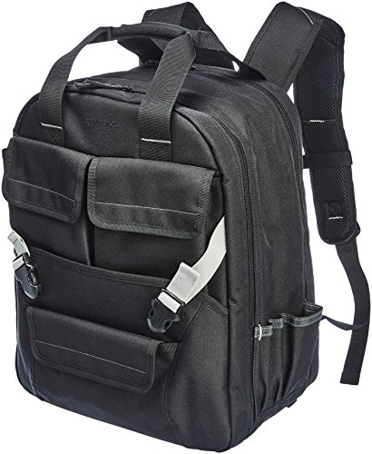 AmazonBasics Durable, Padded Tool Bag Backpack, Black - 51 Pocket with Adjustable Pouch Front