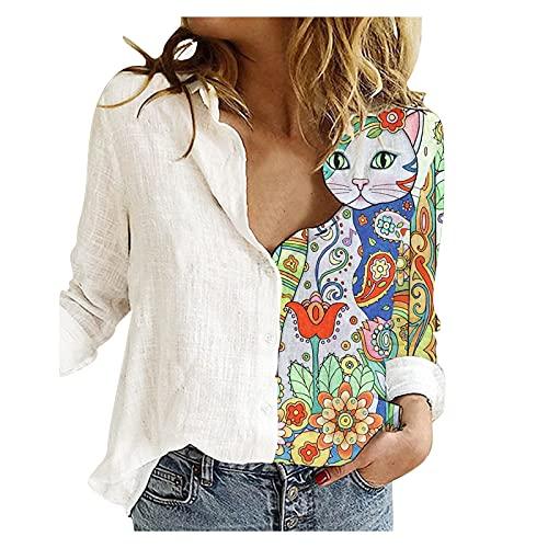 Camiseta de manga larga para mujer, informal, básica, informal, talla grande, cuello redondo, estampada, túnica, blusa, blusa, camiseta larga, jersey K390, b, XL