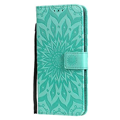 KKEIKO Hülle für Xiaomi Redmi Note 8T, PU Leder Brieftasche Schutzhülle Klapphülle, Sun Blumen Design Stoßfest Handyhülle für Xiaomi Redmi Note 8T - Grün