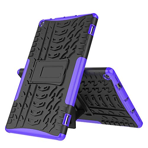 for Kindle Fire HD 10 2019 Tablet Case, JKRED Hybrid Rugged Hard Rubber PC Shell Folding Bracket Anti-Slip Protective Case Cover (Purple)