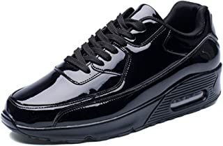 XUJW-Shoes, Mens Athletic Shoes for Men Sports Shoes Lace Up Style PU Leather Thick-Bottomed Air Cushion Height Patent Leather Durable Comfortable Walking (Color : Black, Size : 7 UK)
