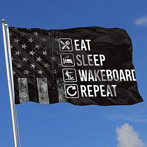 Like-like Gartenflagge Abgenutzte Usa-Flagge Essen Schlaf Wakeboard Wiederholen Outdoor-Sportarten Indoor-Baseball Basketball Hockey 90X150Cm Bunt Hübsches Drucken