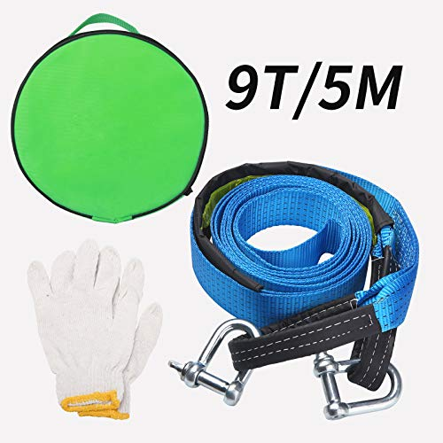 UIHOL Abschleppseil Auto, 5 M KFZ Notfall-Abschleppgurt, 19,800 lbs - 9 Tonnen Dreifach verstärkte Schlaufenende für Sicherheit mit Rutsch Handschuhe und Aufbewahrungstasche (Mutiger Schäkel)