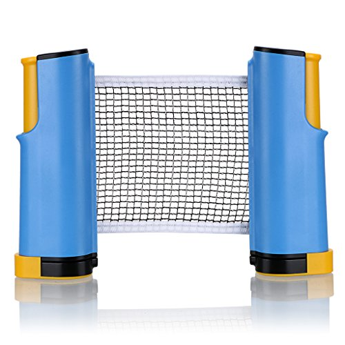 Sumnacon ポータブル卓球ネット 伸縮式 ピンポン 卓上 家庭用 コンパクト (ブルー+イエロー)
