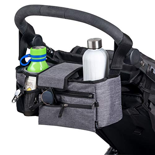 JuJuBe Deluxe Stroller Caddy Organizer | On The Go | Universal Baby Stroller Organizer, Fits Most Strollers | Insulated Cup Holder, Multiple Pockets, Detachable Wristlet | Grey