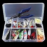 POWERTOOL Kit de señuelos de pesca, 108 señuelos de pesca de acero, regalos para amantes de la pesca, con caja de aparejos de pesca, gusanos y señuelos giratorios de lentejuelas