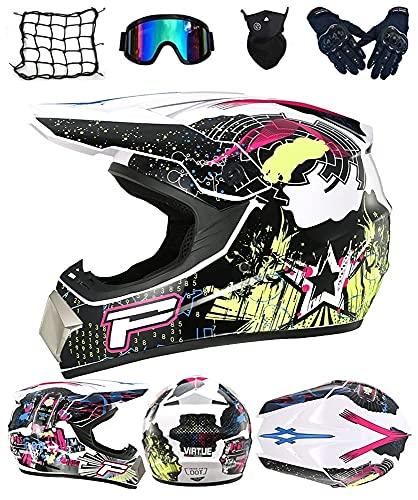 WAHA Casco de Motocross para niños, Casco de Motocross Profesional, Conjunto de Casco de Motocross, con Gafas/máscara/Guantes/Red de Casco, Adecuado para Casco de Descenso MTB Enduro MX Quad ATV,M