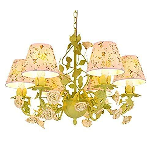 OUPPENG Retro Europea Luces Pendientes, la Flor de Rose de la lámpara, lámpara del Dormitorio Retro, ático Tienda de la Boda Tienda de Ropa de luz Verde de la lámpara, Longitud de la Cadena Ajustable
