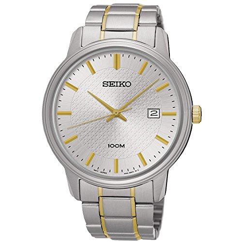 Seiko sur197Herren-Armband Edelstahl Bicolor Band Silber Zifferblatt Armbanduhr