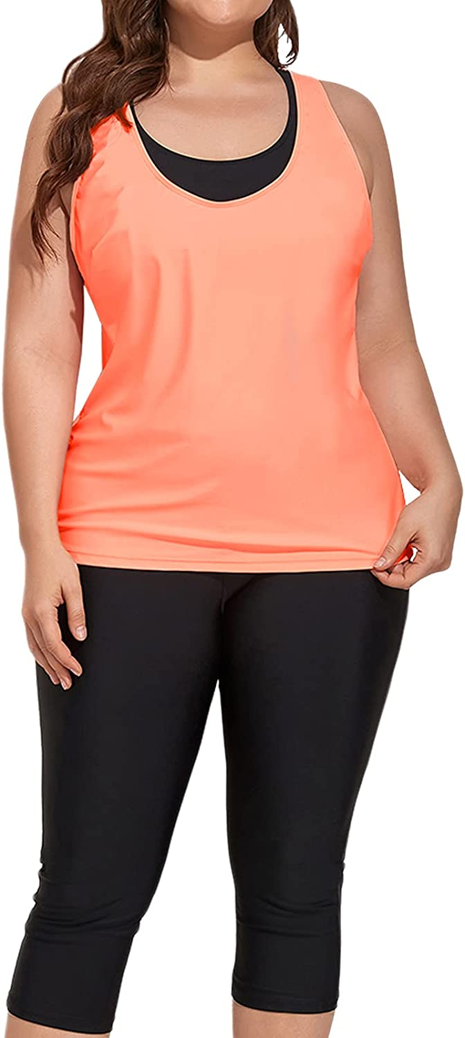 Yonique Plus Size Swimsuits for Women Athletic Tankini Tops with Sports Bra and Swim Capris 3 Piece Bathing Suit