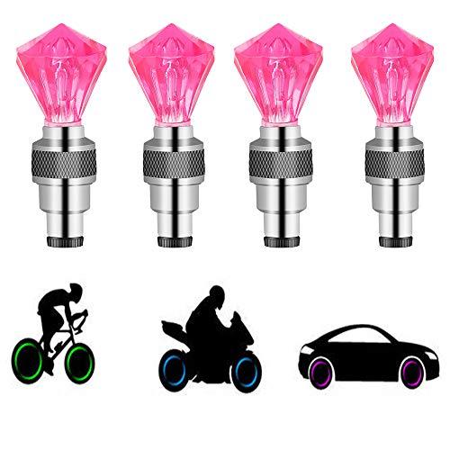 Suweor upo 8 Stücke LED wasserdichte Reifen Ventilkappen Neonlicht Auto Zubehör Fahrradlicht Auto, LED Ventil Kappen, Reifen Beleuchtung, Speichen Licht für Fahrrad, Auto, Motorrad oder LKW (Rot)