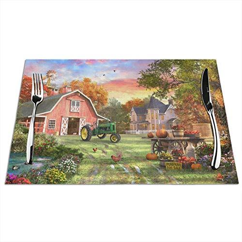 VOROY Platzsets für die Küche, Tischdekoration, Motiv: Herbstfarmwagen, quadratisch, mit PVC-schmutzabweisender...