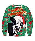 Sudadera navideña Vaca Sudaderas Unisex feas de Navidad Sudaderas con Estampado 3D Novedad Suéter Divertido Navidad Camiseta de Manga Larga