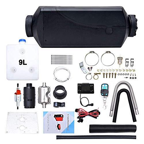 Calentador aire diésel, juego calentador diésel para automóvil, calentador estacionamiento con monitor LCD 12 V y 2 kW, tanque 9 litros, control remoto, calentador estacionamiento, calentamiento
