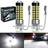NATGIC H3 Ampoules LED Blanc xenon 1800LM 3014SMD 78-EX avec projecteur à lentille pour projecteur de lumière antibrouillard, 6500K, 12-24V (pack de 2)