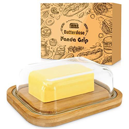 Panda Grip Butterdose Glas, Butterdose aus Glas mit Bambusdeckel für 250g Butter Glas Butterdose Klein mit Deckel Bambusabdeckung Butterdosen Glasdeckel