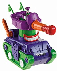 Imaginext Super Friends vehicles bring adventure to life Joker Tank has to move fast in order to get away from Batman Cool graphics Includes Joker figure