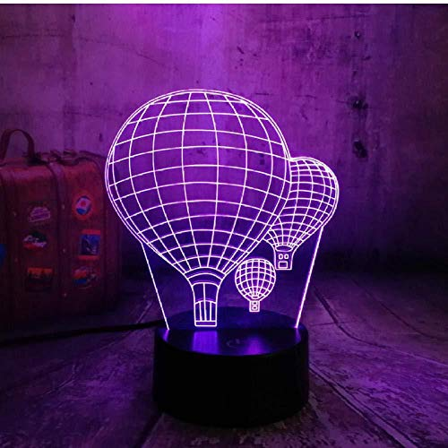 New 3D Desk Lamp 7 Color Change Hot Air Balloon LED Night Light Creative Optical Sleep Illusion Valentine Day Kid Gift