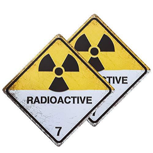dojune - 2 Stück Radioactive Zombie Blechschild Metalldekor Wandschild Wanddekoration Türschild