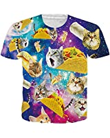 Mens Womens Boys Unisex Galaxy Cat Shirts 3D Funny Print Galace Space Pizza Cat T-Shirt Round Neck Summer Causal Short Sleeve Tops Tees X-Large