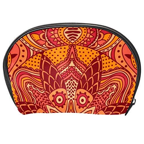 TIZORAX Trousse de maquillage Mandala Rouge chaud Organiseur de voyage Pratique Sac de maquillage Sac à main pour femmes filles