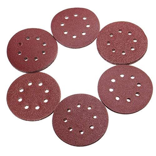 Manyao Abrasive Tool, 50pcs 125mm 8 Holes Hook Loop Sanding Discs 40/60/80/100/120 Grit Sander Pad Set