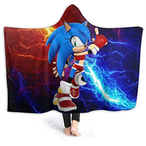 CHICLI Fall Hooded Blankets for Kids Baby, Sonic The Hedgehog Christmas Costume Art Wearable Blankets for Pretend Play, Home, Car, Washable Large Hooded Throw Poncho