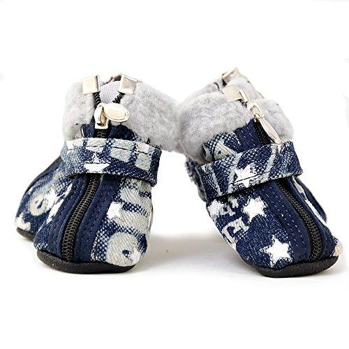 4yourpet winterse hondenschoenen in jeans-look, gevoerd met sterren en glittereffect, Large, blauw