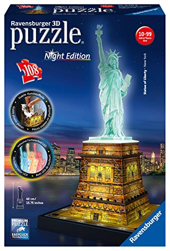 Ravensburger - Puzzle Building 3D Night Edition: Estatua de la Libertad (12596) , color, modelo surtido