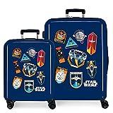 Star Wars Badges Juego de Maletas Azul 55/70 cms Rígida ABS Cierre TSA Integrado 119,4 6 kgs 4 Ruedas Dobles Equipaje de Mano