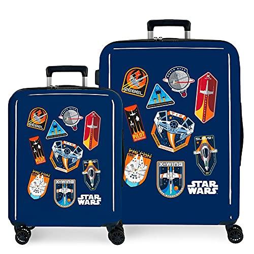 Star Wars Badges Set di valigie blu 55/70 cm Rigida ABS Chiusura TSA integrata 119,4 6 kg 4 ruote doppie bagaglio a mano