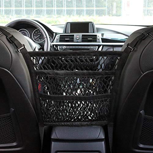 AMEIQ 3-Layer Car Mesh Organizer, Seat Back Net Bag, Barrier of Backseat Pet Kids, Cargo Tissue Purse Holder, Driver Storage Netting Pouch